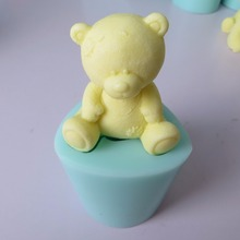 PRZY 3d Teddy bear silicone mold fondant mould chocolate mousse cake molds candle aroma stone resin clay