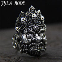 S925 Sterling Silver Jewelry Brahman Ring Anel Men S Cool Punk Gothic Ghost Face Biker Band