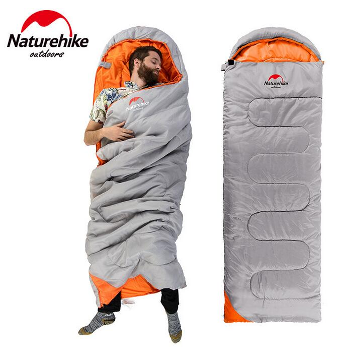 NatureHike Ultralight Camping Sleeping Bag Adult Tents Cotton Filler Envelope Outdoor Warm Spring Autumn Hiking Bags 2.2*0.75M naturehike envelope shaped sleeping bag cotton portable outdoor travel camping hiking sleeping bag for adult with carry bag