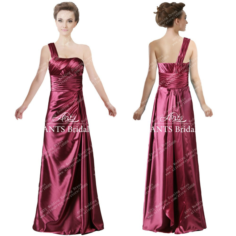 Aliexpress buy gorgeous one shoulder gown long satin aliexpress buy gorgeous one shoulder gown long satin bridesmaid dress fb228 pleated fashion from reliable bridesmaid dresses suppliers on zaxants ombrellifo Image collections