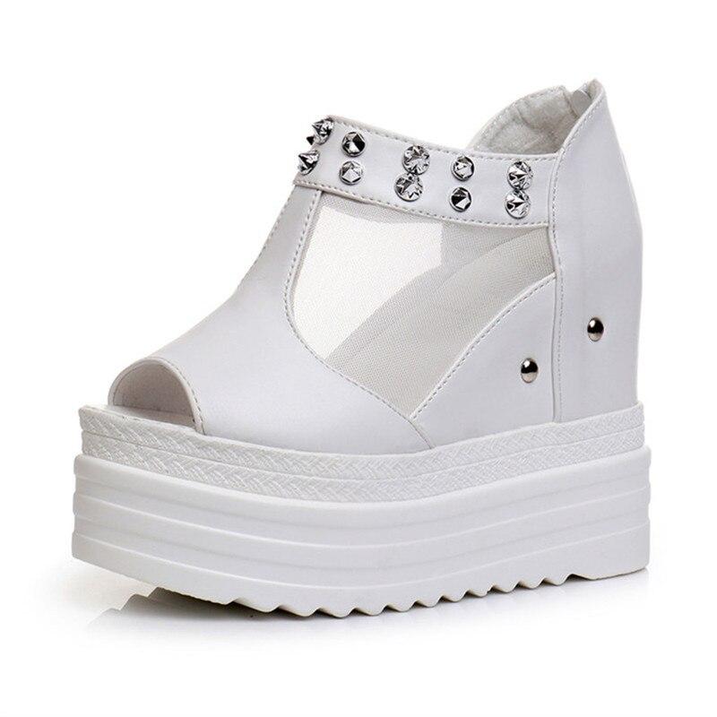Women Wedges Sandals Summer Roman Rivet Shoes Platform Super High Heels 12CM White Fish Mouth Woman