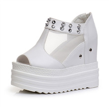 Women Wedges Sandals Summer Roman Rivet Shoes Platform Super High Heels 12CM White Fish Mouth Woman