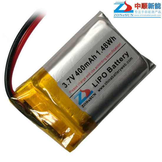 Shun 400mAh <font><b>403035</b></font> <font><b>3.7V</b></font> Bluetooth MP3 audio card reading machines lithium polymer battery image