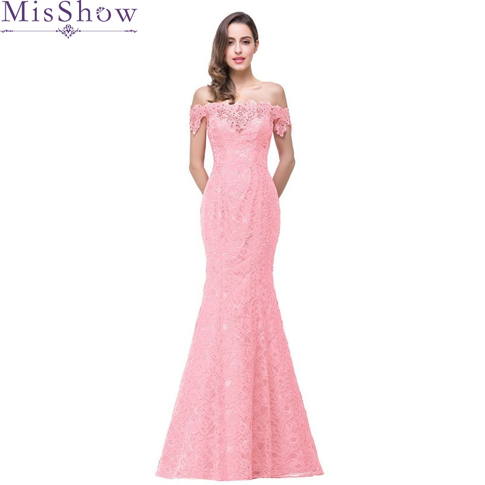 Elegant Backless pink red Long Evening Dress Party Women Lace Mermaid Evening Gown Ladies Formal Dresses