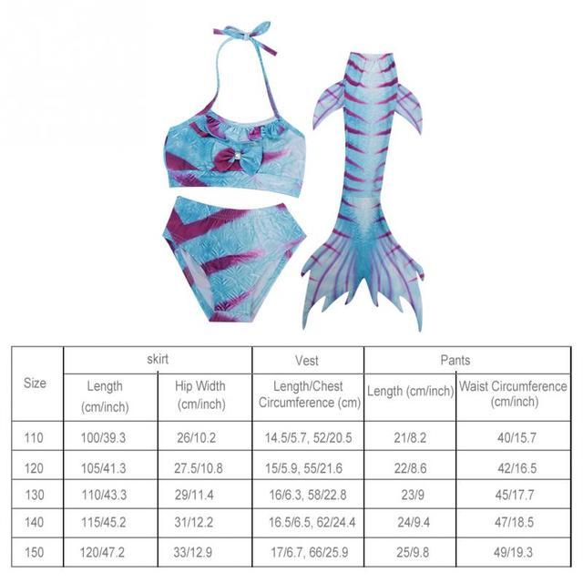 Children Kids Girls Three Pieces Bikini Set Mermaid Swimming Suit Tankini Swimwear for Sea Beach Sunbathing Swimming Pool