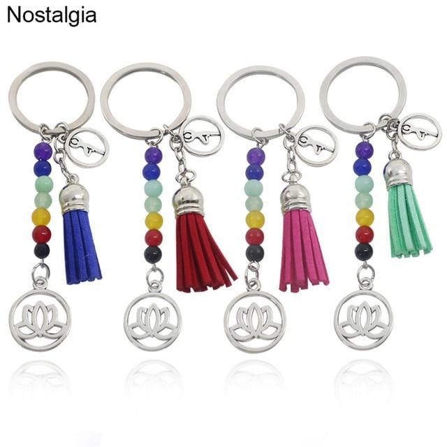 Nostalgia Om Yoga Lotus Flower Tassel Keychain Healing Chakra Stones Bead Key Chain Women In Key Chains From Jewelry Accessories On Aliexpresscom