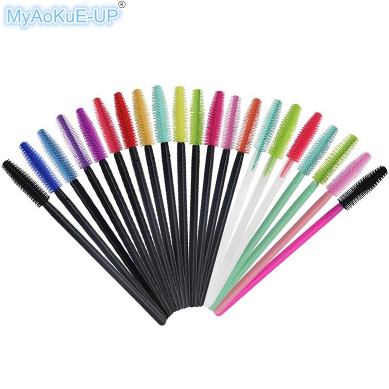 500pcs/lot Professional 15 Colors Mascara Wands Applicator Makeup Brushes Eyelash Extension Disposable Silicone Eyelash Brushes