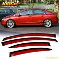 Для 06-11 Honda Civic Acura CSX 4D Sedan JDM Окна Вс Дефлекторы Rallye Красный # R513