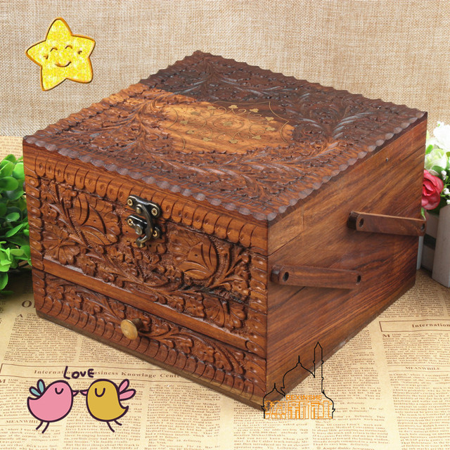 Pakistan wood carving hand carved antique costume jewelry box