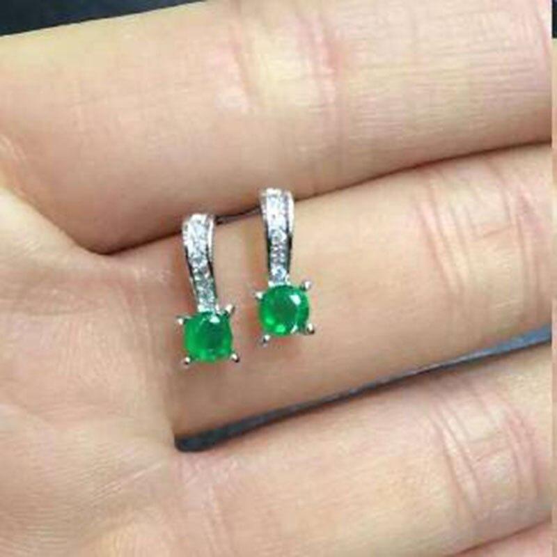 2017 реальные QI Xuan_Fashion Jewelry_Colombia Зеленый Камень Элегантный падения Earrings_S925 чистого серебра Earrings_Factory непосредственно продаж