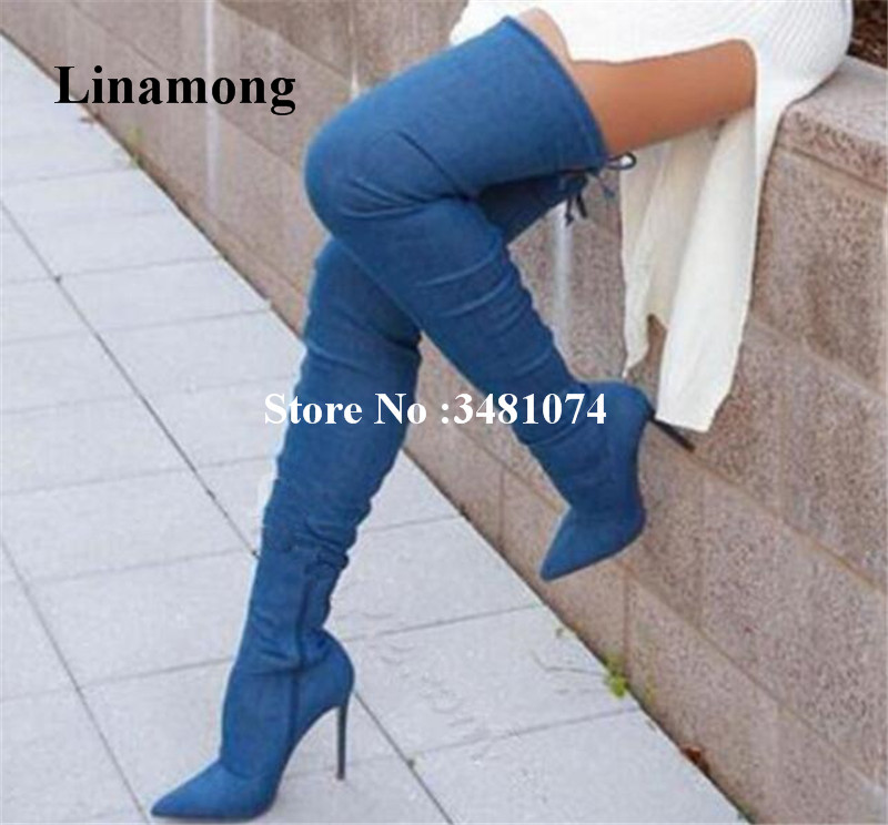 Women Denim Over The Knee Long Boots Pointed Welt Band Solid Blue Denim Long Boots Thin And Super High Heels For Women vintage fringed solid color denim skirt for women