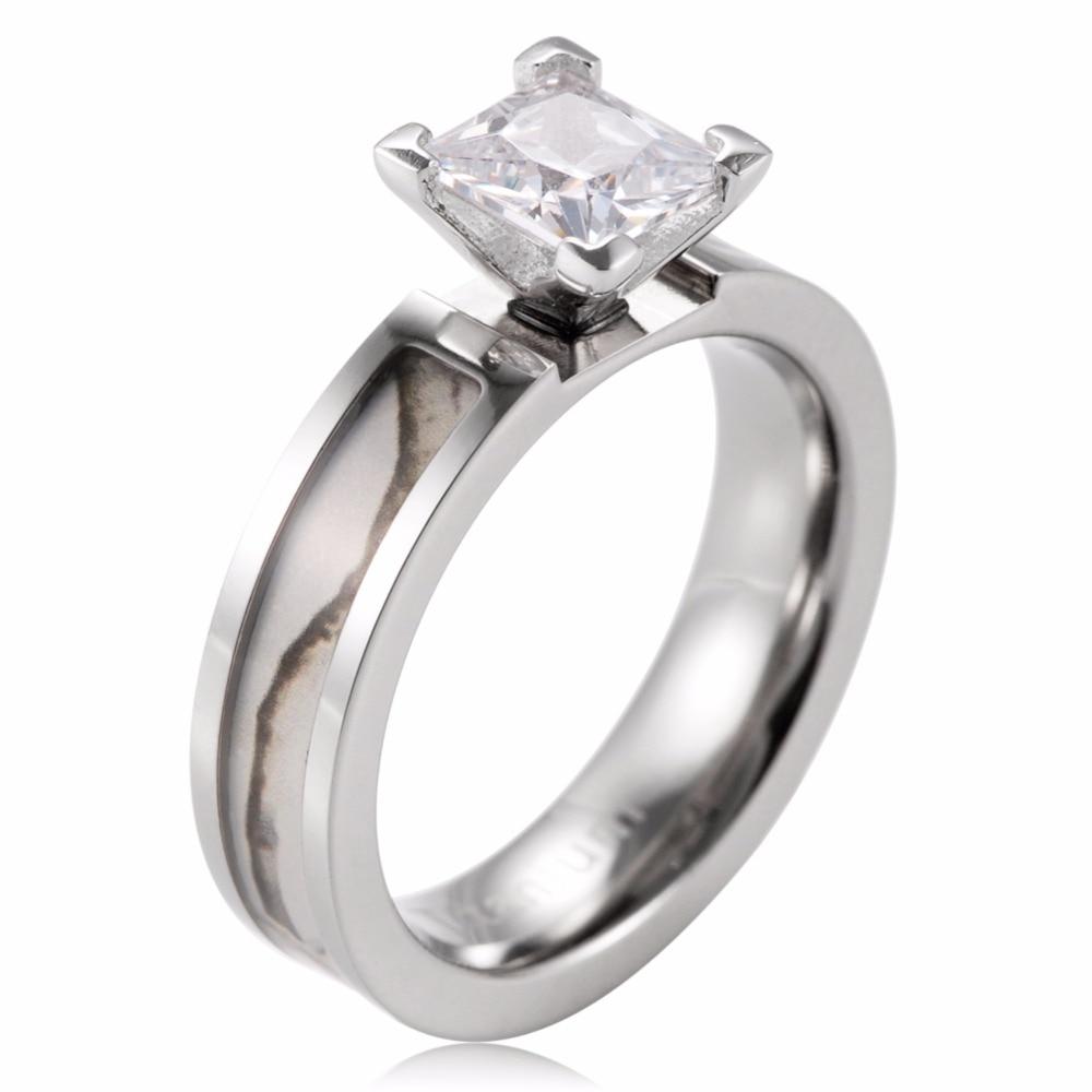 SHAODON White Camo Engagement Ring Titanium Snow Tree Engagement ...
