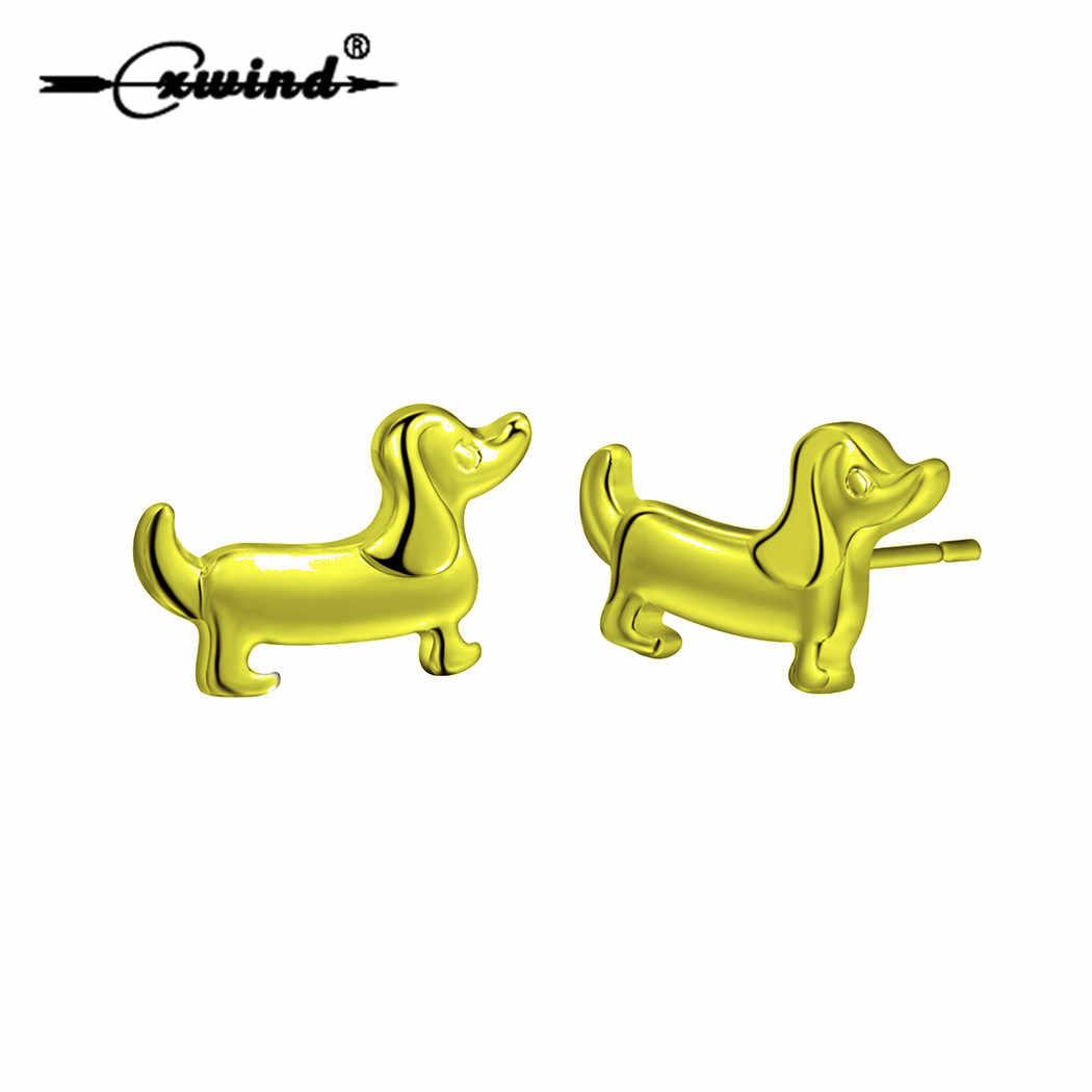 Cxwind かわいい動物足跡スタッドピアスチャームソーセージ犬ダックスフントの女性のための素敵なハートのイヤリングの宝石