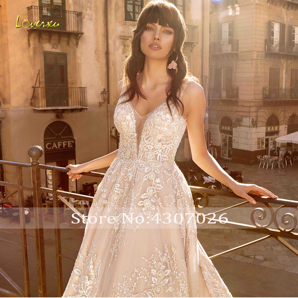 Image 3 - Loverxu V Neck A Line Wedding Dress Chic Applique Beading Tank Sleeve Backless Bride Dress Cathedral Train Bridal Gown Plus Size-in Wedding Dresses from Weddings & Events