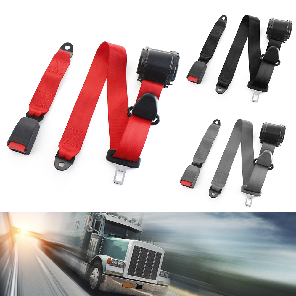 Universel 3 points voiture ceinture de sécurité Extension de ceinture de sécurité 2.1 cm boucle noir gris rouge convient à la plupart des accessoires auto