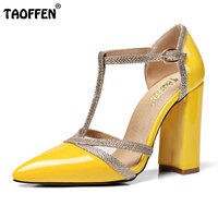 TAOFFEN 7 Colors Size 34 48 Sexy Lady High Heel Sandals Women Ankle Strap Buckle Sandal