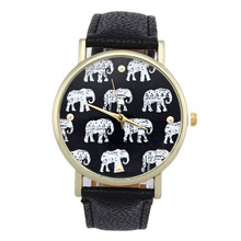 Supper fun 2017 Fashion New Girl Elephant Pattern Faux Leather Band Analog Quartz Dial Watch Jan14