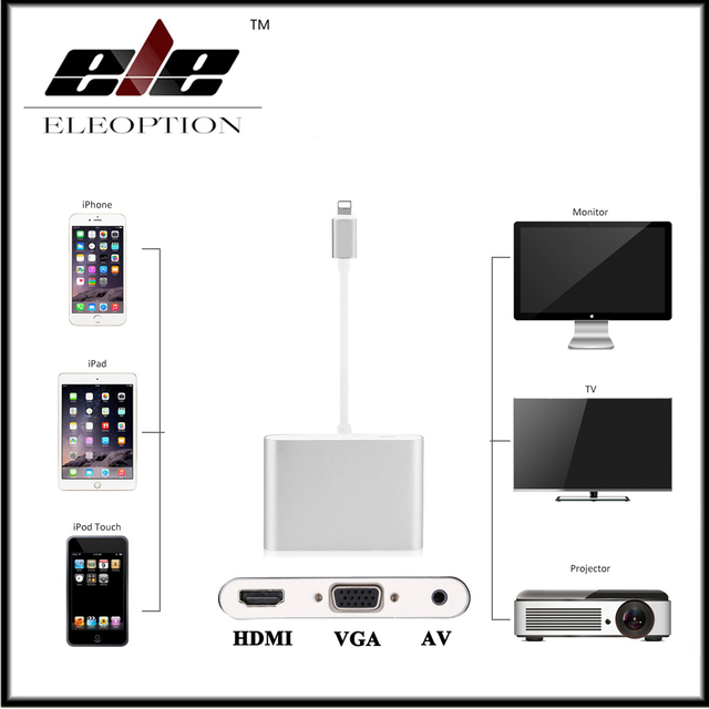 quality design ada53 f92b8 US $41.65 |Aliexpress.com : Buy For Lightning to HDMI / VGA / AV Digital  Adapter For iPhone X 8 7 7 Plus 6 For iPad for Monitor Projector from ...