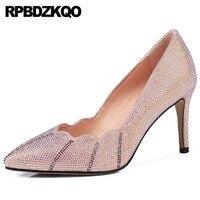 Розовый обувь с украшением в виде кристаллов туфли лодочки со стразами Натуральная кожа ручной работы замшевые черные размер 4 34 женские на