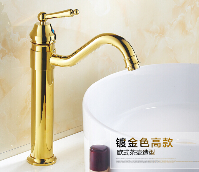 new arrival high quality Gold finished cold and hot single lever bathroom sink faucet mixer basin faucet