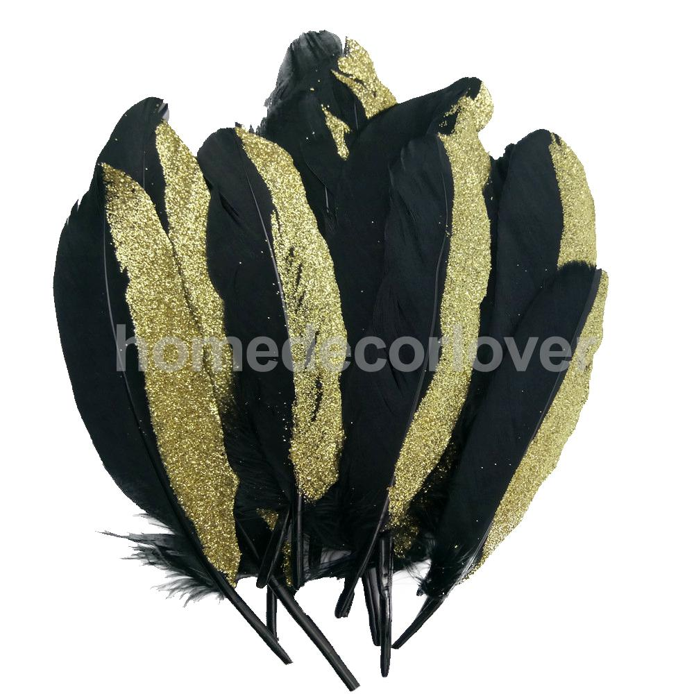 12 Pieces Black and Gold Dyed Natural Goose Feather for Millinery DIY Craft Home Decoration 15-20cm