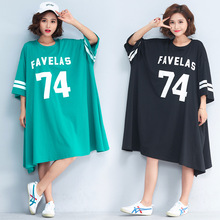 Woman Plus Size T Shirt Dress 2019 New Summer Female Short Sleeve O-neck Casual Loose Letter Print T Shirt Dress Oversized Dress women spring summer loose oversized dress short sleeve letter t shirt dress casual o neck cotton dresses white black red xxl