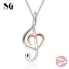 SG Aliexpress recommend music Note pendant chain necklace 925 sterling silver fashion jewelry making for women gifts цена