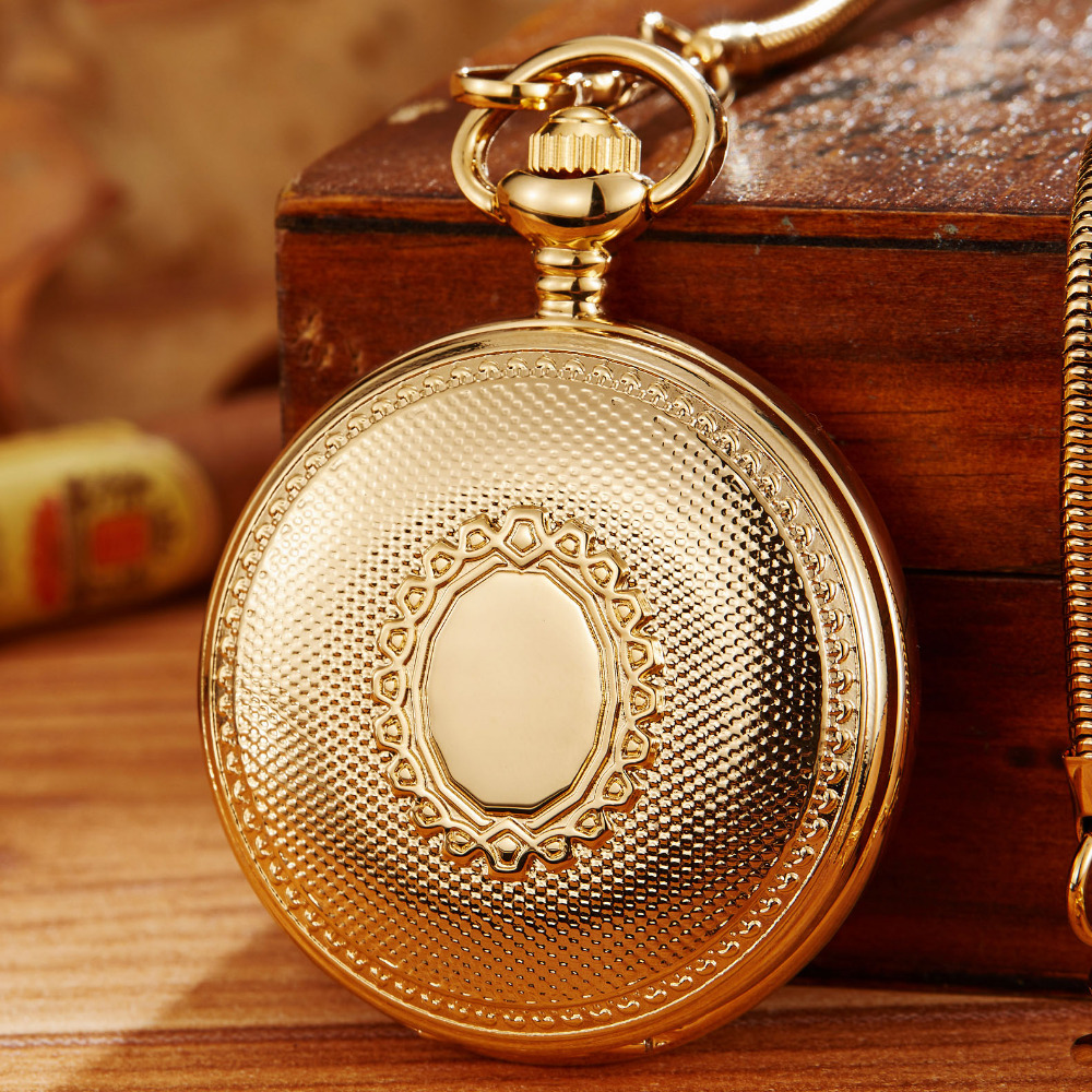 Luxury Copper Material Top Brand Skeleton Mechanical Pocket Watch Mens Fob Chain Golden Automatic Sculpture Women Men Watch Gift