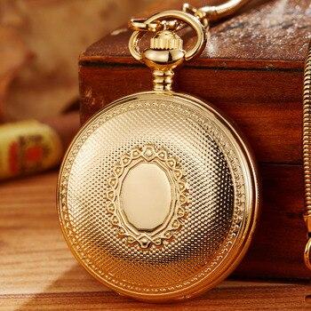 bd6b9af57d62 Retro esqueleto mecánico Reloj de bolsillo para hombre Fob cadena de oro  cuerda automática mujeres hombres