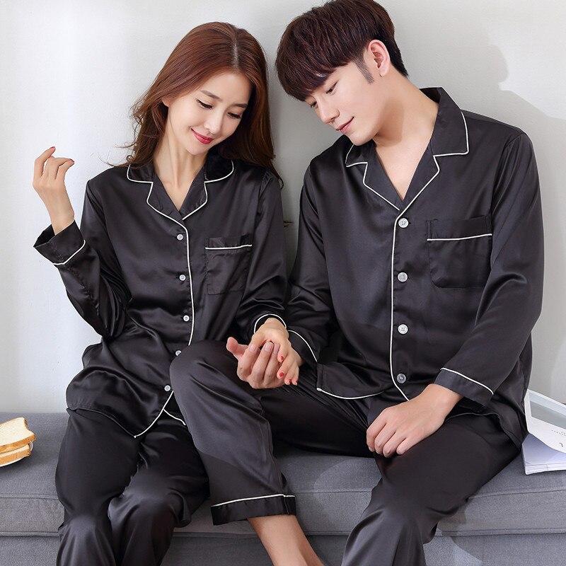 Image 3 - BZEL Silk Satin Couples Pajamas Set For Women Men Long Sleeve Sleepwear Pyjamas Suit Home Clothing His and hers Clothes Pijamas-in Men's Pajama Sets from Underwear & Sleepwears on AliExpress