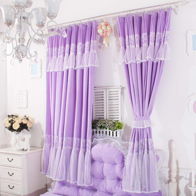 Korean Style Princess Purple Lavender Curtains For S Room Free Shipping White Lace Bedroom