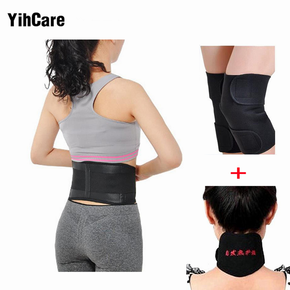 YihCare 4Pcs/set Self-heating Waist Support Tourmaline Belt Back Magnetic Therapy Neck Guard Knee Pad Thermal Protection Kneepad