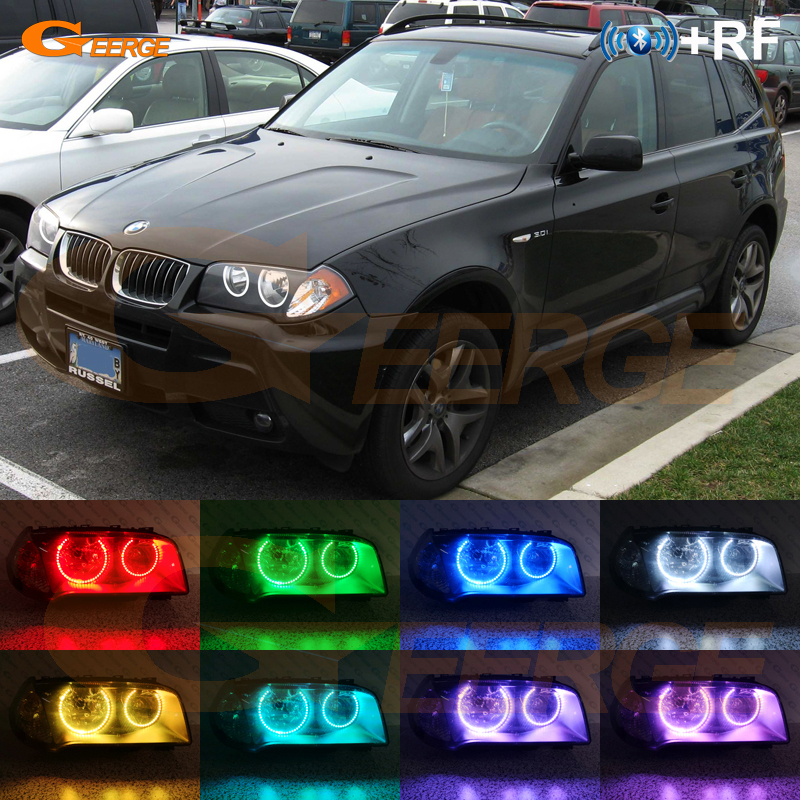 For BMW E83 X3 2003 2004 2005 2006 Halogen headlight RF Bluetooth Controller Multi-Color Ultra bright RGB LED Angel Eyes kitFor BMW E83 X3 2003 2004 2005 2006 Halogen headlight RF Bluetooth Controller Multi-Color Ultra bright RGB LED Angel Eyes kit