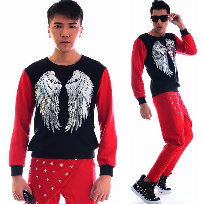 Mode punk slim sexy chemise rouge hommes à manches longues chemise adolescente coréenne hommes personnalité scène chanteur danse chemise + pantalon - 3