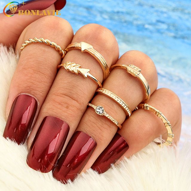 New Fashion Arrow Finger Rings Set Gold Color Midi Ring Sets Knuckle Rings For W
