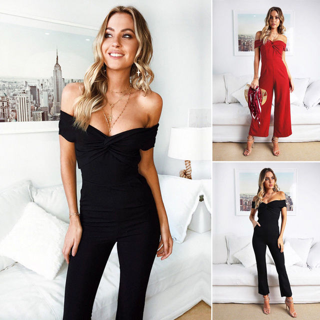 671d9e8c321 2018 New Women Clubwear Summer Playsuit Bodycon Party Jumpsuit Romper  Trousers Pants Casual Strapless Skinny Solid