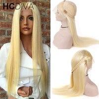 613 блондинка Синтетические волосы на кружеве парик для Для женщин 130% прозрачный кружевной парик 13*4 бразильские прямо Синтетические волосы