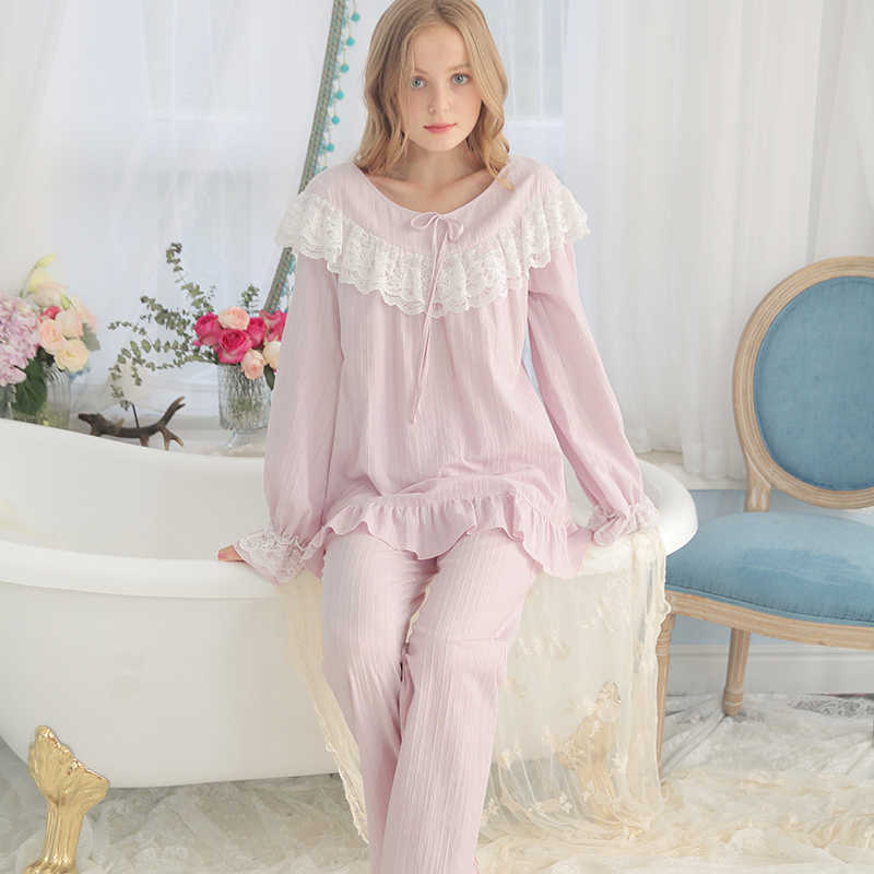 537357dda8 Cotton Pajamas Women Vintage Sleeping Clothes Ladies Pajama Sets Spring  Autumn Sleepwear Suit Fashion Long sleeved