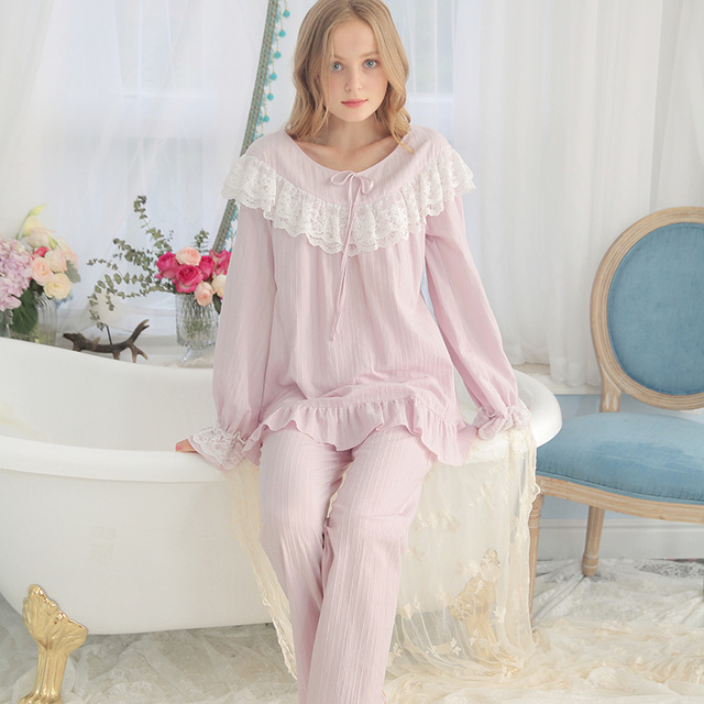 af50520f9de Cotton Pajamas Women Vintage Sleeping Clothes Ladies Pajama Sets Spring  Autumn Sleepwear Suit Fashion Long sleeved