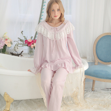 Cotton Pajamas Women Vintage Sleeping Clothes Ladies Pajama Sets Spring Autumn Sleepwear Suit Fashion Long sleeved Women's Sleep
