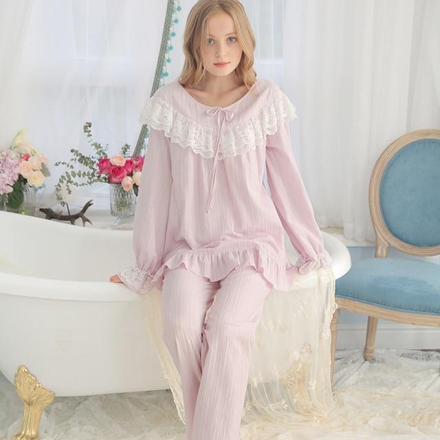 c3b0d281c Pijamas de algodão Mulheres Do Vintage Roupas de Dormir Senhoras Conjuntos  de Pijama Primavera Outono Sleepwear