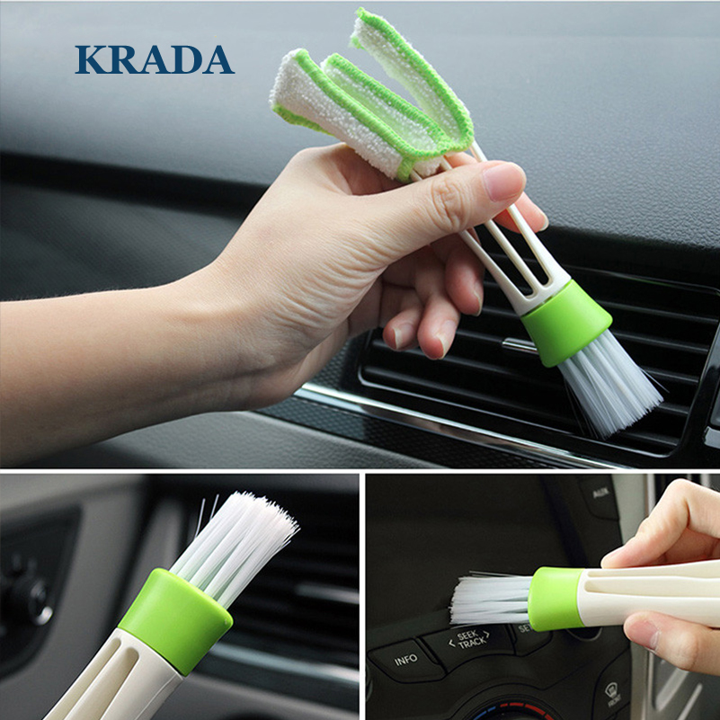 KRADA Car Cleaning For volkswagen vw golf 4 5 6 7 tiguan polo passat b5 b6 jetta touran touareg Mk4 mk6 mk7 Double Side Brush yuzhe leather car seat cover for volkswagen 4 5 6 7 vw passat b5 b6 b7 polo golf mk4 tiguan jetta touareg accessories styling