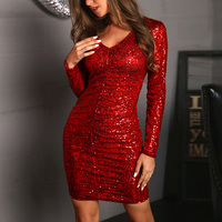 Sequin Dress V Neck Long Sleeve Sexy Party Dress With Zipper Women Clothing Sheath Spring Autumn Short Dress