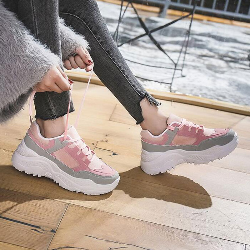 Autumn   Suede     Leather   Sneakers Women Fashion Patchwork Platform Flats Casual Height Increasing Shoes Woman XWC1444