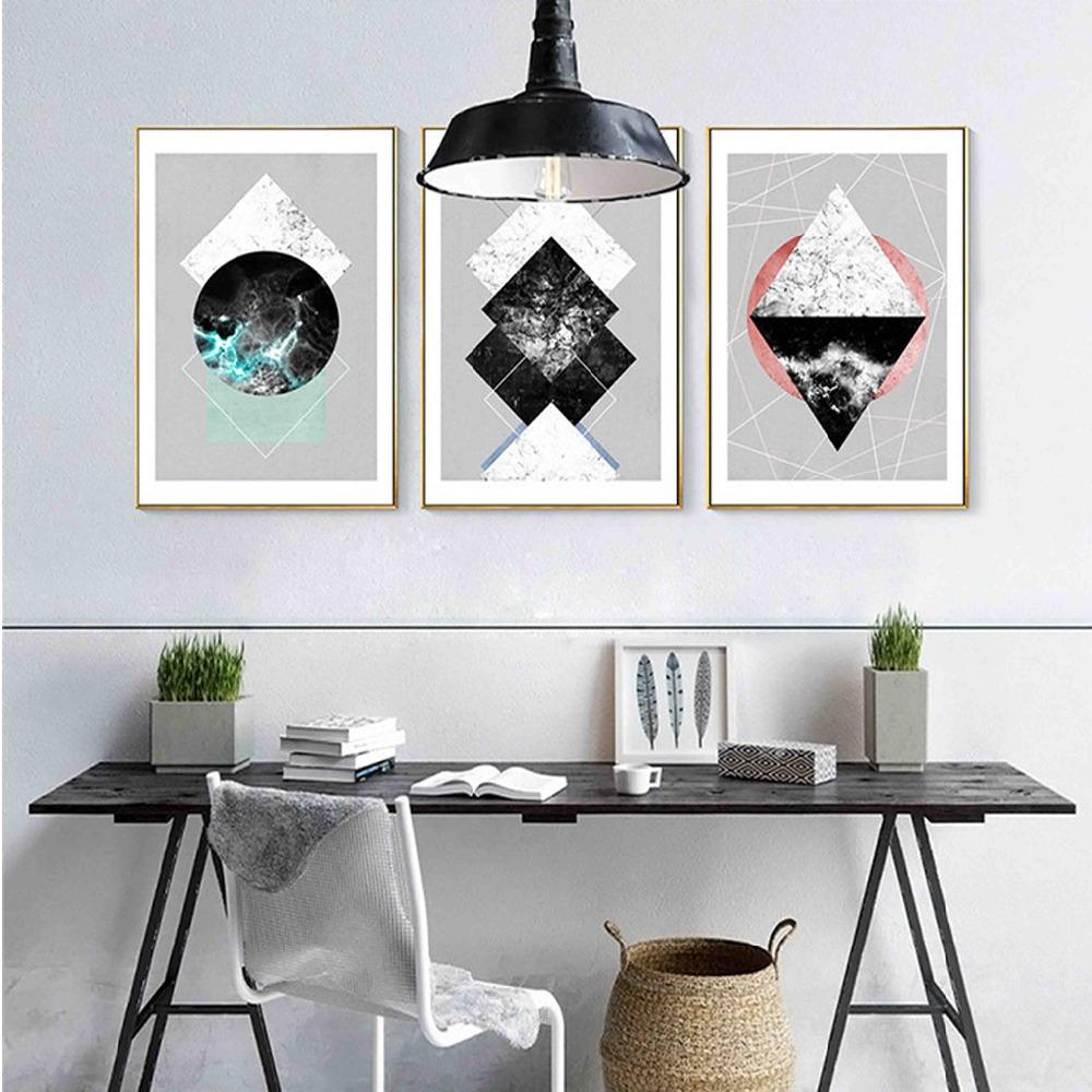 Peindre Triangle Sur Mur géométrique abstrait cercle carré triangle toile peinture