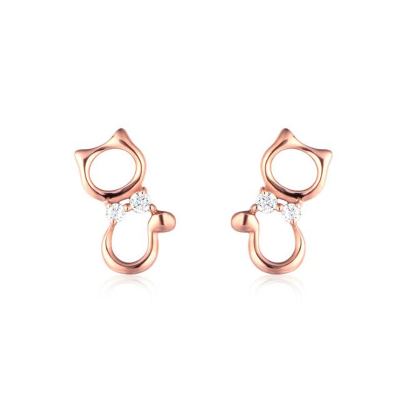 2018 New Arrival 18K Gold Cute brincos Animal Hollow Cat Stud Earring Small Earrings For Women Party Earrings AU750 0.66g pair of cute rhinestone round hollow out stud earrings for women