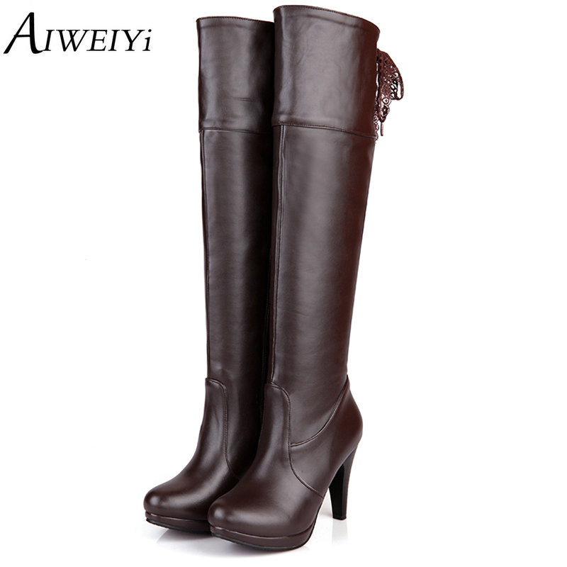 AIWEIYi Women Thigh High Boots PU Leather Fashion Over The Knee Boots Female Shoes High Heels Autumn Winter Motorcycle Boots yougolun ladies fashion thigh high over the knee boots woman autumn winter womens female sexy nubuck suede leather women shoes