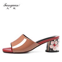 fanyuan new fashion women high Heels Slippers Summer classics Genuine leather Flower Studded heels ladies Formal Dress Slippers