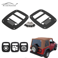 WISENGEAR For Jeep Wrangler TJ 1997 2006 Rear Tail Light Lamp Cover Protector Guards For YJ