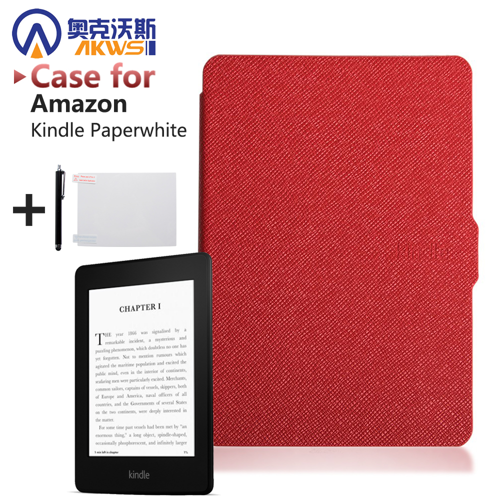 Slim Fashion Cover For Amazon Kindle Paperwhite Case 6'' Ereader Leather case for Kindle Paperwhite Cover 2015 E-book +film+pen kindle paperwhite 1 2 3 case e book cover tpu rear shell pu leather smart case for amazon kindle paperwhite 3 cover 6 stylus